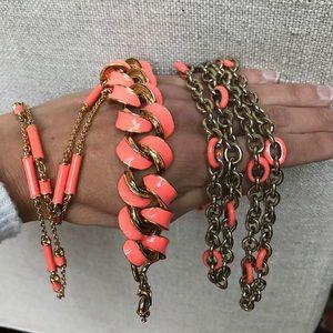 Lot of 3 coral enamel jewels J.Crew & Kate Spade